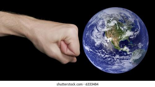 Fist Hitting The Earth, Caucasian Skin Tone, Black Background