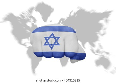 fist with the national flag of israel on a world map background