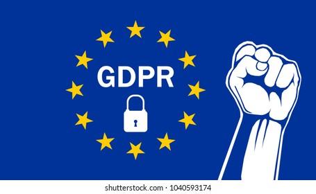 Fist on EU Flag. Illustration of European support the GDPR. General Data Protection Regulation.