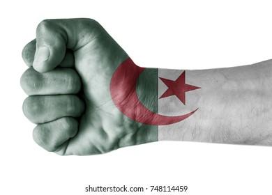 Fist painted in colors of AAAAAAA flag, fist flag, country of AAAAAAAA