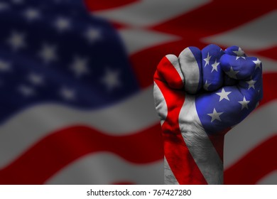 Fist painted in colors of Aamerican flag, fist flag, country of Aamerican