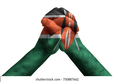 Fist painted in colors of Kenya flag, fist flag, country of Kenya