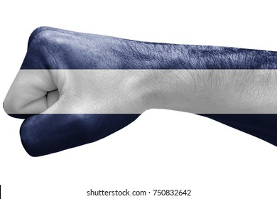 Fist painted in colors of nicaragua flag, fist flag, country of nicaragua