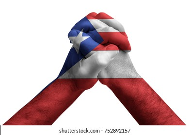 Fist painted in colors of Puerto rico  flag, fist flag, country of Puerto rico