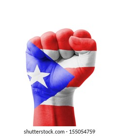 Fist of Puerto Rico flag painted, multi purpose concept - isolated on white background