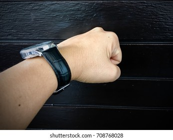 fist punched wooden wall - aggression concept
