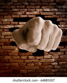 fist punching through a brick wall, grunge color