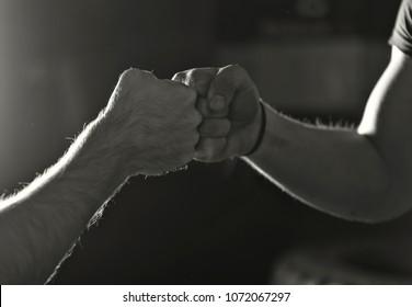 Fist toss before a workout