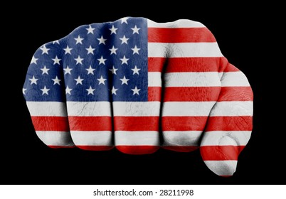 fist with us flag isolated on black