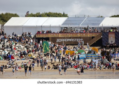 Fistral Beach, Newquay, Cornwall, UK. 12th Aug, 2017. Surfers take part in Day 4 of the Boardmasters Championship. Competitors from around the world take part in the UK's biggest surf contest.