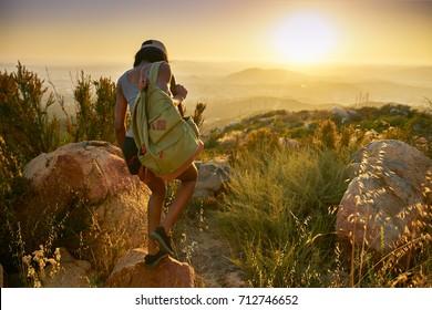 fit african american woman hiking trail near san diego california