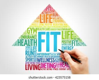 FIT arrrow word cloud, health concept