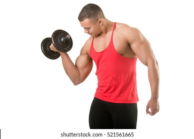 Fit athlete doing standing dumbbell curls for training his biceps, isolated in white