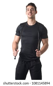 Fit athlete jumping rope, isolated in white