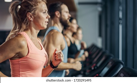 Fit Athletic Woman Running on the Treadmill, Doing Her Fitness Exercise. Muscular Women and Men Actively Training in the Modern Gym. Sports People Workout in Fitness Club. Side View