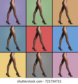 Fit and beautiful legs in sexy pantyhose. Woman in hosiery. Set collection with different colors of backgrounds.