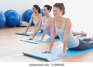 Fit class doing the cobra pose in a bright fitness studio