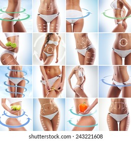 Fit female body isolated on white. Perfect people concept. Dieting, sport and healthy eating collage.