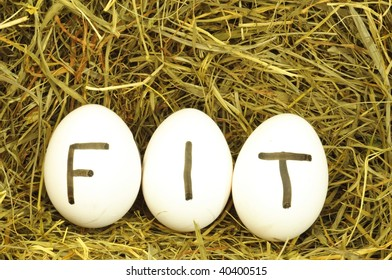fit or healthy lifestyle concept with eggs on hey or straw