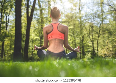 Fit lady is sitting on mat among green lawn on warm sunny day with focus on back. She is meditating in lotus asana in solitude. Relaxing in connection with environment concept