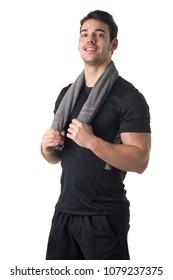 Fit man with a towel around his neck, isolated in white