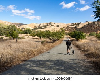 FIt middle age man, age 54, walking black labrador retriever puppy dog, East Shore Trail, Del Valle Regional Park East Bay Regional Parks DIstrict, Livermore, California, USA on a sunny fall day