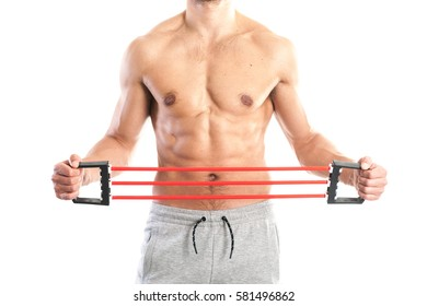 Fit, muscular male body on white background, stock picture