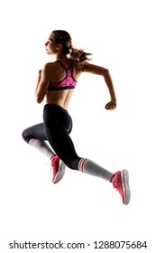 fit runner girl jumping against white background, back view, half silhouette photo