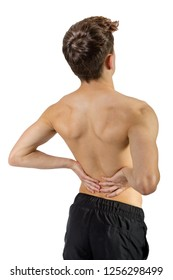 Fit shirtless caucasian young adult with lower back pain