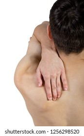 Fit shirtless caucasian young adult with upper back pain