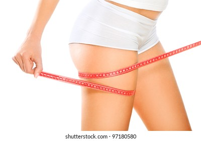 Fit and slim / Beautiful and fit young woman measuring her sexy body. Diet and body care concept.
