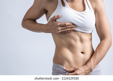 fit slim body woman on white background