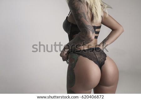 c3e7cc9c98e3c8 Fit Sporty Girl Underwear Lingerie Tattoo Stockfoto (Jetzt ...