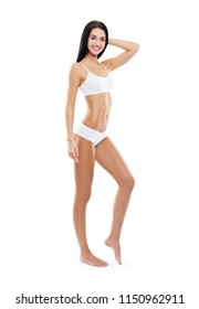 Fit and sporty girl in white swimsuit. Sport, fitness, diet, weight loss and healthcare concept.