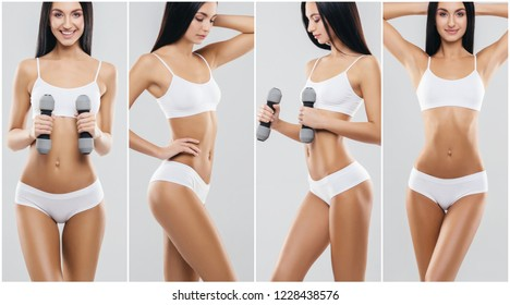 Fit and sporty woman in fitness concept. Young girl in swimsuit isolated on white.