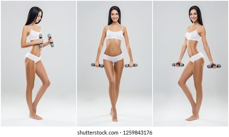 Fit and sporty women in fitness concept. Young girl in swimsuit isolated on white.