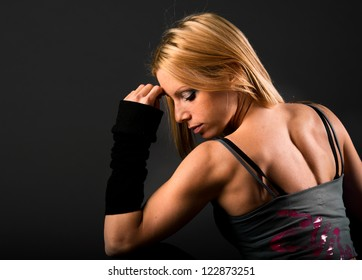 Fit woman back muscle definition