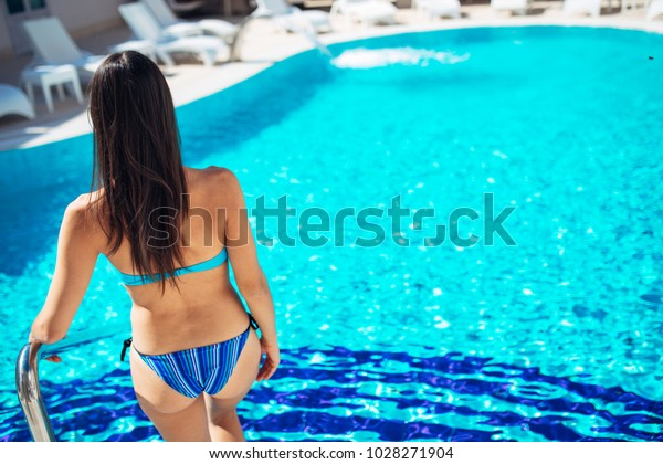 Fit Woman Bikini Getting Into Poolusing Stock Photo (Edit