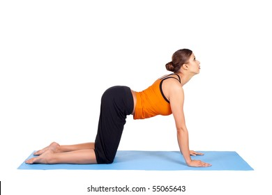 Fit woman doing yoga exercise called Cat Pose, sanskrit name: Viralasana, isolated over white background