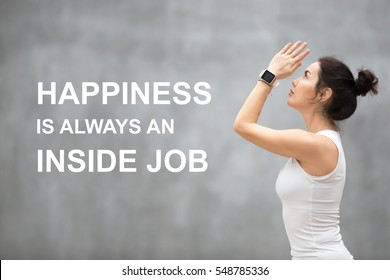 """Fit woman doing yoga or pilates exercise. Fitness motivation quote with motivational text """"Happiness is always an inside job"""". Healthy lifestyle concept"""