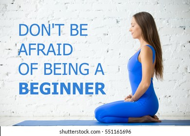 """Fit woman doing yoga or pilates exercise. Fitness motivation quote with motivational text """"Do not be afraid of being a beginner"""". Healthy lifestyle concept. Seiza, vajrasana pose. Horizontal image"""