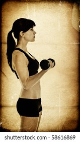 Fit woman exercising - textured