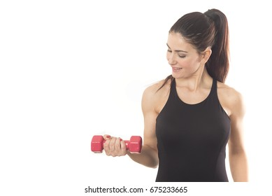 fit woman lifting weights isolated on white background