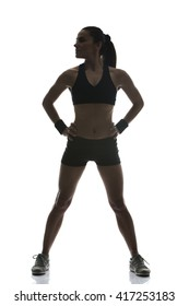 fit woman on white background