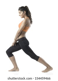 fit woman stretching on white