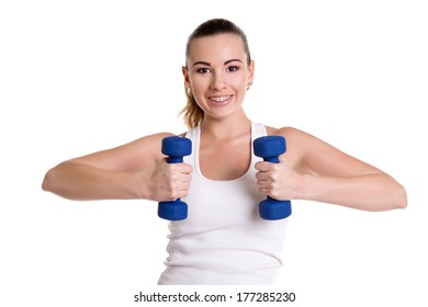 Fit woman training with dumbbells