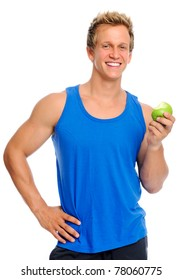 Fit young caucasian man holds a half eaten green apple, displaying a healthy lifestyle