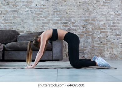 Fit young Caucasian woman practicing yoga at home standing in cat and cow pose arching her back