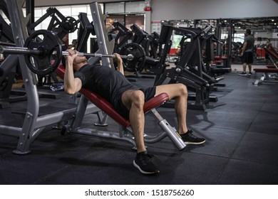 Fit young man in sportswear  to lifting heavy weights while working out in a gym class