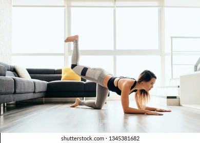 Fit young Pacific Islander woman training at home. Beautiful female athlete working out for wellbeing in domestic gym, training legs and back muscles with Plank Donkey Kicks.